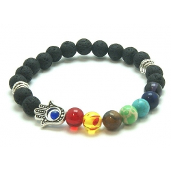 7 Chakra Lavastone round bead bracelet with hand of fatima (8mm)