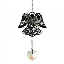 Engel met hartvormig regenboogkristal