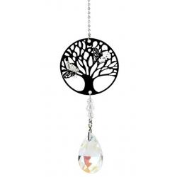 Tree of Life met druppelvorm regenboogkristal wit