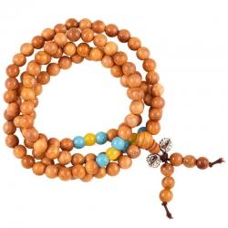 Mala hout elastisch met sierkralen en dorje 108 kralen + tasje