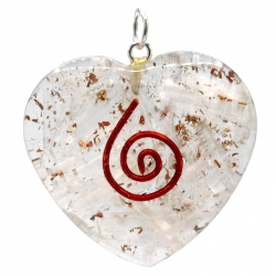 Orgoniet hartvormige hanger met seleniet