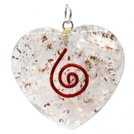 Orgonite heart-shaped pendant with selenite