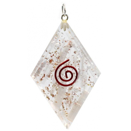 Orgonite diamond shaped pendant with selenite