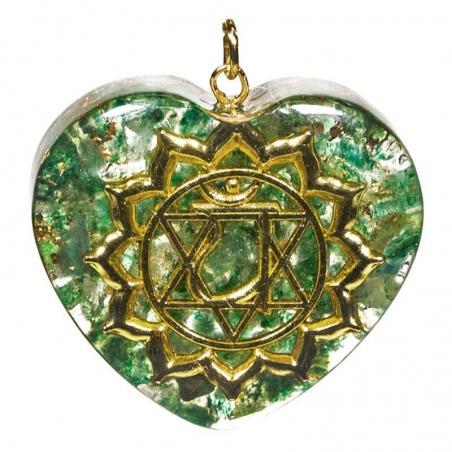 Orgonite heart-shaped pendant fourth Chakra
