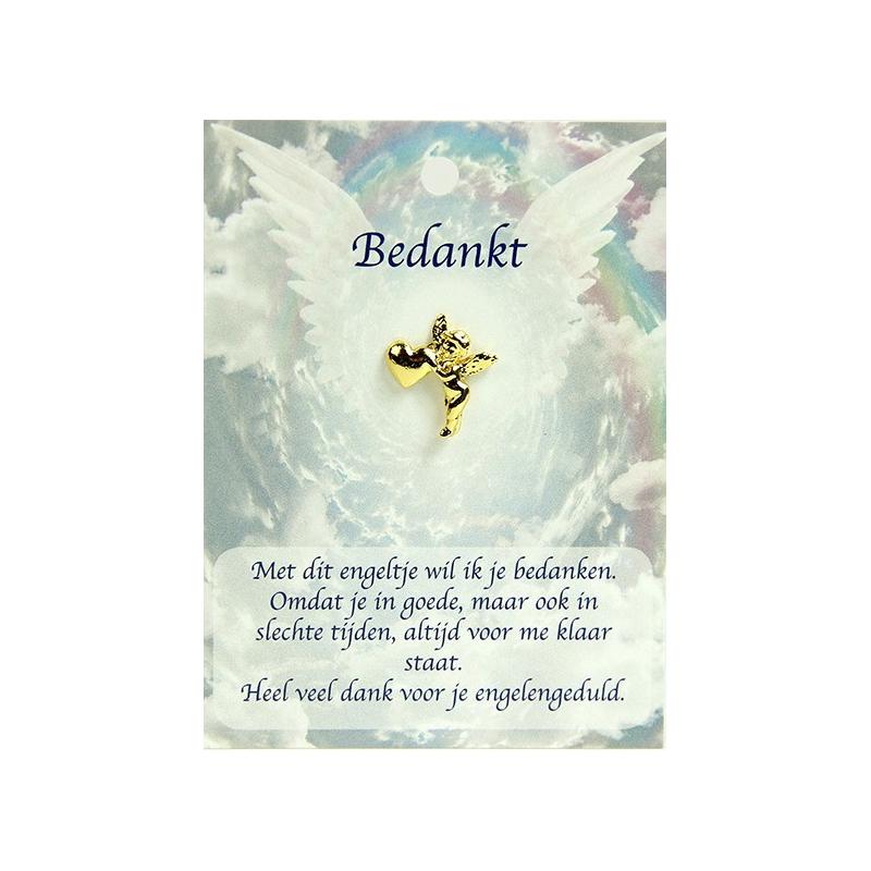 Angel pin engel met hartje - Bedankt (gold)