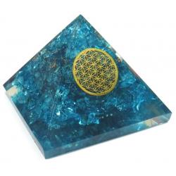 Orgoniet Piramide - Blauwe Topaas met Flower of Life (60mm)