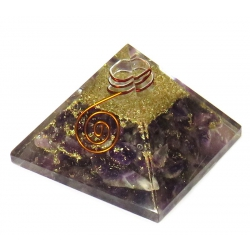 Orgoniet Piramide - Amethist met kristalpunt en koper (55mm)