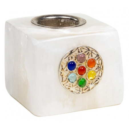 Candle holder cube selenite with flower of life