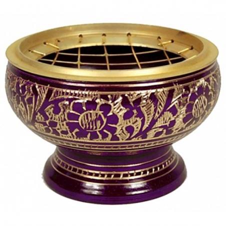 Incense burner brass purple