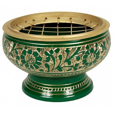 Incense burner brass green
