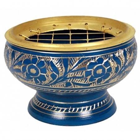 Incense burner brass blue
