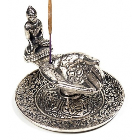 Silver colored incense burner offering hands with buddha