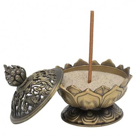 Brûle encens Lotus couleur bronze (6.9cm)