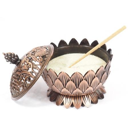 Incense burner Lotus copper colored (9cm)