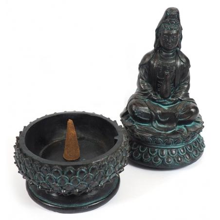 Incense burner Kwan Yin (black)